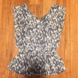 Express Grey Design Peplum Shirt